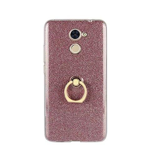 Soft Flexible TPU Back Cover Case Shockproof Schutzhülle mit Bling Glitter Sparkles und Kickstand für Huawei Changxiang Genießen Sie 7 Plus ( Color : Gold ) Pink