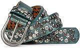styleBREAKER Nieten Gürtel im Vintage Style mit echtem Leder, kürzbar 03010008, Farbe:Antik-Petrol-Grün;Größe:90cm