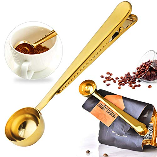 ZhaoMM 5Er Pack Kaffeelöffel 2-In-1-Edelstahl-Kaffeelöffel Mit Clip Zur Aufbewahrung Von Lebensmitteln Versiegelungsbeutel Clip Zur Messung Von Kaffee, Tee, Proteinpulver Und Instant-Getränken,Gold -