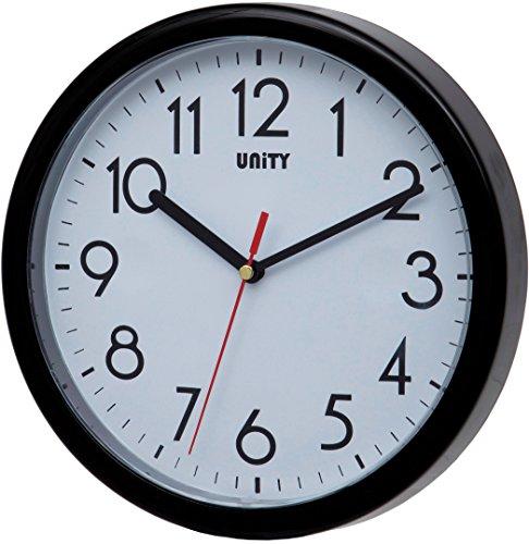 Unity Hastings 22 cm 21,8 cm Horloge Murale Moderne silencieuse, Plastique, Noir, 22 x 22 x 5 cm