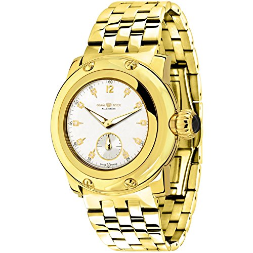 Glam Rock Women's Palm Beach 40mm Gold-Tone Steel Bracelet Gold Plated Case Swiss Quartz Watch GR40038