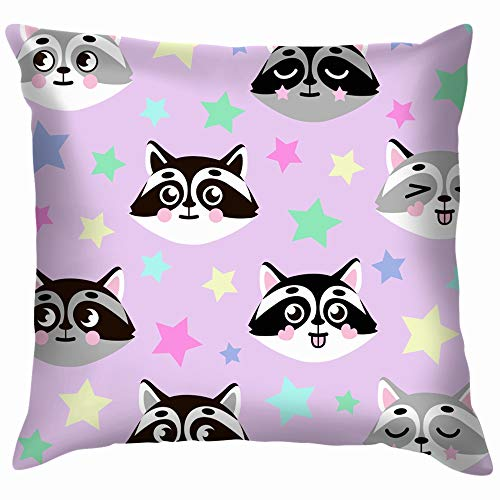 oon Faces Colored Stars Animals Wildlife Soft Cotton Linen Cushion Cover Pillowcases Throw Pillow Decor Pillow Case Home Decor 18X18 Inch ()
