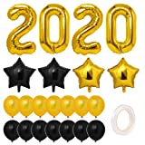 Toyvian 2020 Luftballons Dekorationen, Gold Graduation Party Supplies 2020 Silvester Luftballons Kit, große Luftballons Folienballon Latex-Luftballons