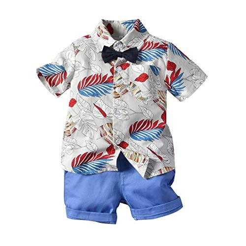 Lookhy Baby Kurzarm Fliege Gentleman Leaf T-Shirt Tops + Shorts Outfits Boy Kinder Regenbogen Streifen Riemen Kurze Outfits Set Jungen Bekleidungssets Kleikind FüR Festliche Taufe Hochzeit