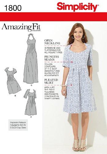 Simplicity Muster 1800Damen 'Größe Amazing Fit Kleider Größe, 20W-28W (Kleid 20w)