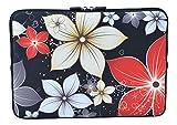MySleeveDesign Housse de protection en néoprène pour ordinateur portable Notebook Sac Pochette 10,2' / 11,6' - 12,1' / 13,3' / 14' / 15,6' / 17,3' Pouces - PLUSIEURS MODELES - Red Flowers [15]