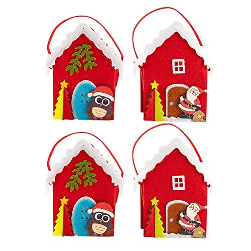 SOGREAT 4Pcs Weihnachten Papier Geschenktüten mit Griffen,Weihnachten Süßigkeit Papier Taschen mit Weihnachtsmann Weihnachtsbaum Rentier Schneemann für Geschenk und Dekoration