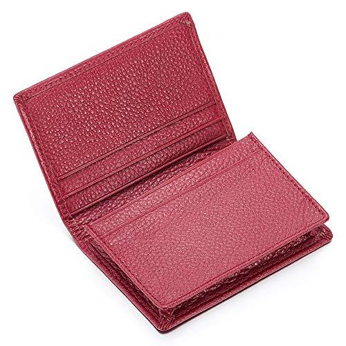 Rosso pelle cuoio portafoglio, portamonete pieghevole tasche porta carte di credito, soldi, biglietti da visita