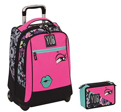 Trolley yub maxi + astuccio 3 zip - svalvolati - rosa faccina - spallacci a scomparsa! uso zaino scuola e viaggio