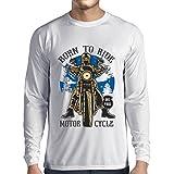 lepni.me Langarm Herren t Shirts Live Young - Die Free - Geboren, Motorrad zu Fahren, Geschenkideen für Biker, Inspirierende Slogans (XS Weiß Mehrfarben)
