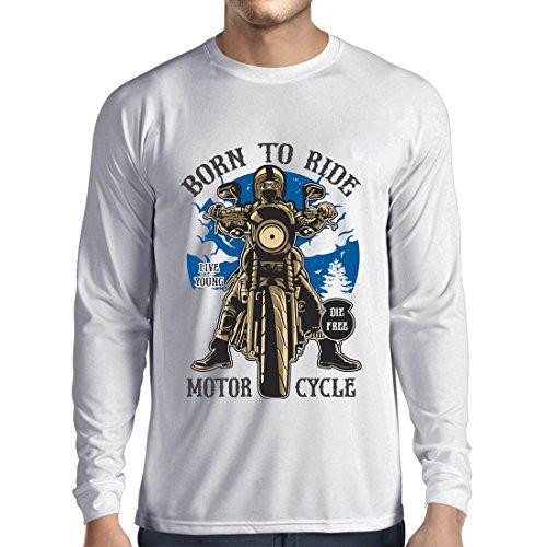 ren t Shirts Live Young - Die Free - Geboren, Motorrad zu Fahren, Geschenkideen für Biker, Inspirierende Slogans (XS Weiß Mehrfarben) (Lego Halloween-messe)