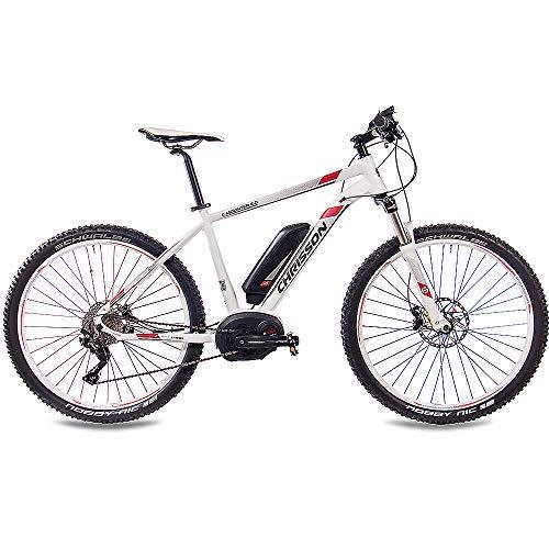 CHRISSON 27,5 Zoll E-Bike Mountainbike Bosch - E-Mounter 2.0 Weiss 52cm - Elektrofahrrad, Pedelec für Damen und Herren mit Bosch Motor Performance Line 250W, 63Nm - Intuvia Computer und 4 Fahrmodi