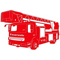 Wandtattoo Feuerwehr Löschzug in 9 Größen und 19 Farben (90x60cm hellrot)