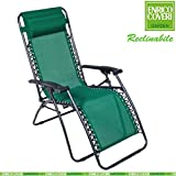 Enrico Coveri Entspannungsliege, kippbar, mit Fußstütze, Stahlgestell, mit Stoffüberzug, Grün
