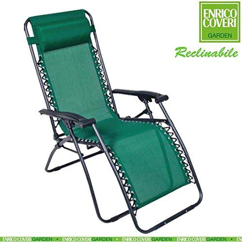 Sedia sdraio relax reclinabile con poggiapiedi struttura acciaio telo in textilene verde enrico coveri