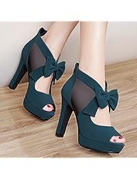 Jqdyl Tacones Nuevas sandalias de tacón alto de moda salvaje de otoño con zapatos gruesos de mujer, 37, azul lago