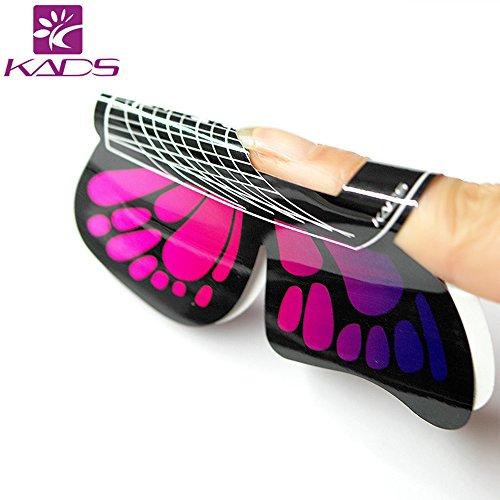 Kads 100 pcs en 1 rouleau de Grand Taille Butterfly-shape Autocollant Gel Faux Ongles Vernis à ongles formes pour ongles en acrylique conseils