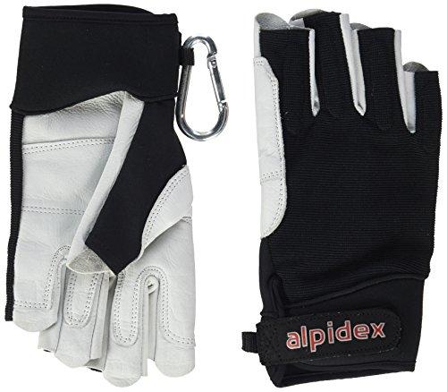 ALPIDEX Klettersteighandschuhe Black BOA 2.0 Unisex Echtleder Lederhandschuhe Kletterhandschuhe Half Finger Gloves Via Ferrata, Größe:M, Farbe:Wild Black