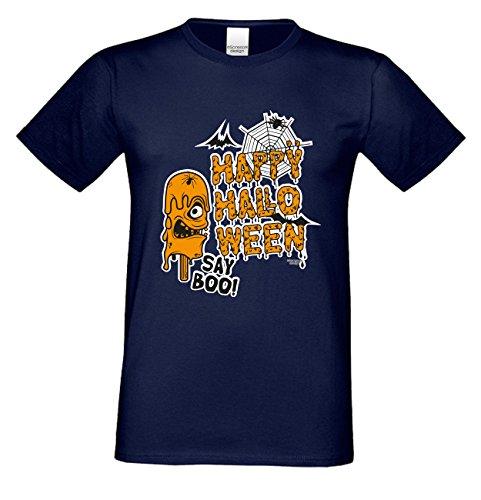 Grusel T-Shirt Herren Fun-Motiv Happy Halloween Geschenkidee  Geburtstagsgeschenk Hexen Gespenster Geister Farbe