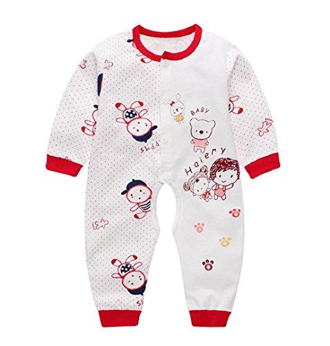 Baby-Mädchen Schlafstrampler,ZEZKT Mädchen Jungen Mädchen Schlafanzug Baumwolle Overalls Säugling Spielanzug Baby-Nachtwäsche 0-10Monate (0-3 Monate, Rot) (0 3 Monat Kürbis Kostüm)