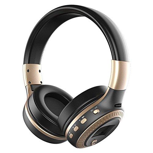 LONGTENG Zealot Wireless Bluetooth Headset Cuffie stereo LCD con cancellazione del rumore 3D, nero-oro