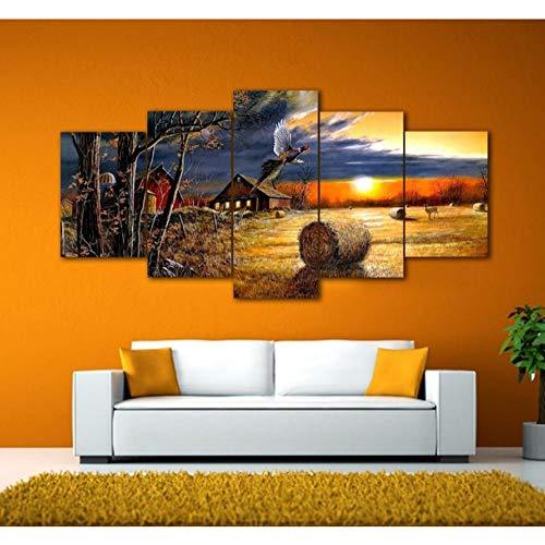 Sanzx Leinwandbild, Motiv: Harvest Farm Village, gerahmt, 30 x 40 x 2, 30 x 60 x 2, 30 x 80 cm, 5-teilig
