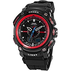 OHSEN LCD Dual Core Mens Women Sport Date Day Red Stopwatch Black Rubber Watch OHS051