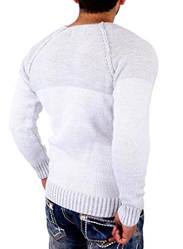 Reslad Strickpullover Herren Two Tone Rundhals Pullover Grobstrick RS-16081 Weiß