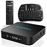 Globmall Android 6.0 TV Box with Mini Wireless Qwerty Keyboard, 2017 Model X1 4K Android TV Box DDR4 1GB RAM 8GB ROM and Bluetooth 4.0 with Quad Core CPU 64 Bits Amlogic S905X