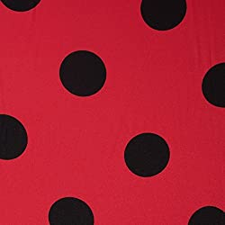 GALERIAS MADRID Tela Satén Lunar Grande Negro - Fondo Rojo