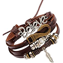 Young & Forever Mentastic Beads Believe Leaf Charm Multi-Strand Leather Unisex Bracelet (B55572)