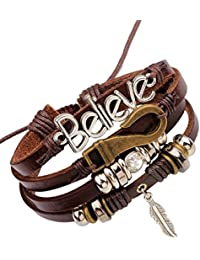 Young & Forever Wardrobe Refresh Fashion Sale Special MenTastic Multilayer Beads Believe Leaf Charm Unisex Gift Leather Bracelet for Boys Mens (B55572)