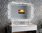 Spiegelando Minerva V40 - TV Spiegel mit LED Beleuchtung KONFIGURIEREN - Verschiedene Zusatzoptionen auswählbar - Made in Germany - (Breite) 70 cm x (Höhe) 70 cm
