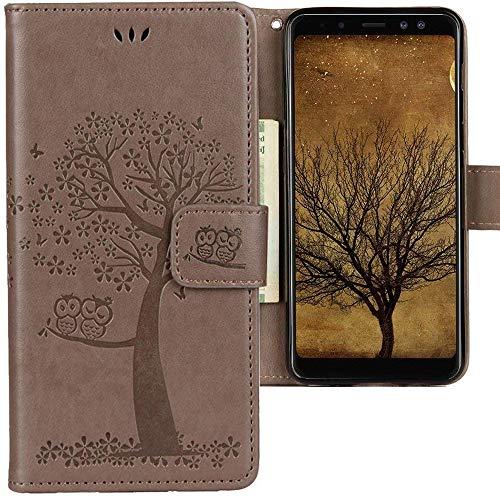 CLM-Tech kompatibel mit Samsung Galaxy A8 2018 Hülle, Tasche aus Kunstleder Baum Eule grau, PU Leder-Tasche für Galaxy A8 2018 Lederhülle