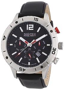 Nautec No Limit - Reloj analógico para caballero de cuero negro de Nautec No Limit