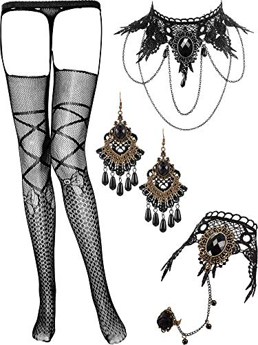 SATINIOR Spitze Choker Schwarz Halskette mit Armband Ohrringe und Strümpfe Set für Damen Geburtstag Hochzeit Halloween Weihnachten -