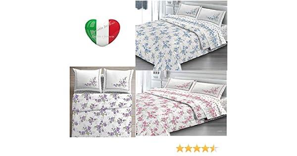 SpazioTessile Telo Arredo Copritutto Copridivano Copriletto Grandfoulard 100/% Cotone Cloe Fiori Azzurro, 1 Piazza 170x290