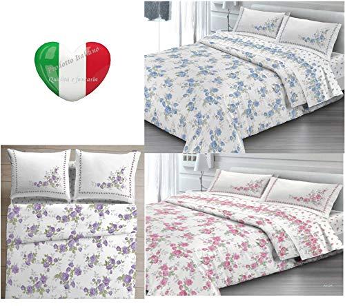 SpazioTessile Copriletto Estivo Copridivano 100% Cotone Piquèt Dis. Cloe Fiorato (Rosa, 2 Piazze,Matrimoniale)