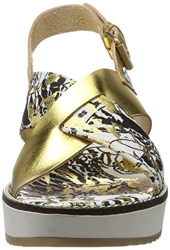 Desigual Damen Alexia 4 Keil Sandalette Goldfarben/Weiß