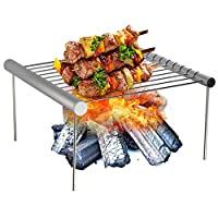 ‏‪Folding Campfire Grill Non-stick Detachable 304 Stainless Steel Grate Portable Camping Grill with Legs BBQ Tools with Storage Bag for Meats Fish Vegetables Steak‬‏