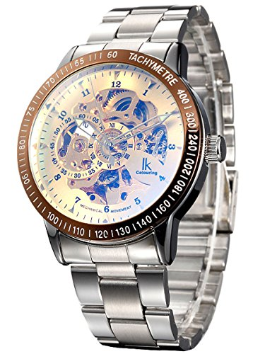 Alienwork ik orologio meccanico automatico uomo donna acciaio inossidabile argento analogico unisex oro impermeabile scheletro