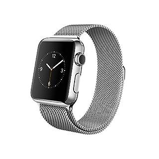 Apple Watch, 42 mm, GPS, Edelstahl Gehäuse, Silber mit Milanese-Armband, Metall, 2015