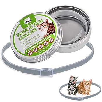 Soulitem Anti moustiques anti-puces de tiques de collier de chat imperméable réglable 8 mois de protection