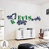 jiuyaomai Nom personnalisé Custom Construction Bulldozers Sticker Mural Garçon...