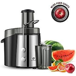 Kitchen Komforts – Centrifugeuse professionnelle de fruits et légumes, Extracteur centrifuge très puissant de 700 Watts avec grande trémie et 2 vitesses