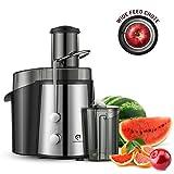 Kitchen Komforts Entsafter Edelstahl, 700W Hochleistungs-Zentrifugal-Juicer mit 75 mm großer Einfüllöffnung, Trennscheiben Juicer mit 2 Geschwindigkeitsstufen für Obst und Gemüse