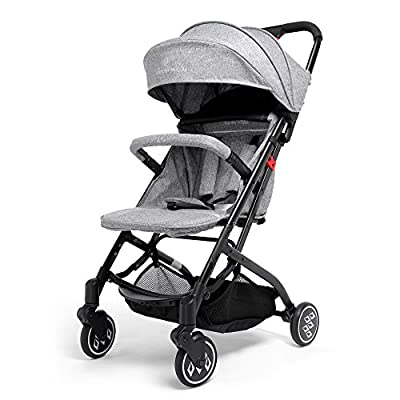 Carrito de Bebé Sistema de Viaje, SKM Plegable Carrito de Bebé Calesa con la Visera Parasol, Cuatro Ruedas Resistencia a los Golpes con una Cesta y un Portavasos para Bebé Fácil de Llevar (#2)