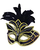 WMU 1181440 Black Venetian Costume Mask with Feathers