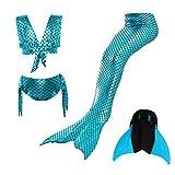 Mädchen Meerjungfrau Schwanz Badeanzug Prinzessin Cosplay Bademode für Das Schwimmen mit Bikini Set und Monoflosse, 4 Stück Set