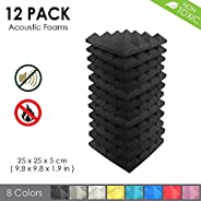 Arrowzoom New 12 Pack of (25 X 25 X 5cm) Pyramid Acoustic Foam Studio Absorbing Tiles Pads Wall Panels (BLACK)
